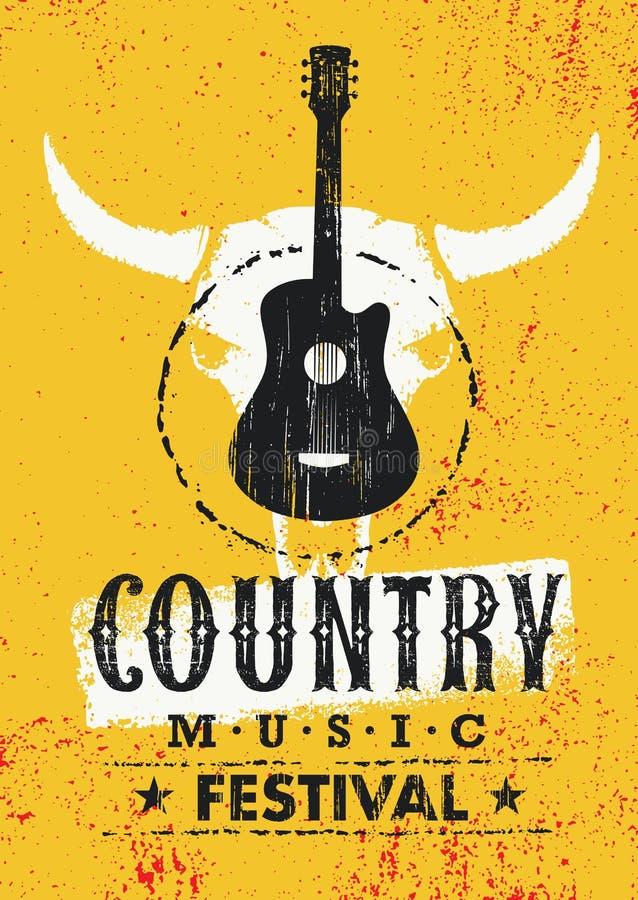 Creatief Vector Geweven de Afficheconcept van het country muziekfestival met Gitaar en Koeschedel op Grunge-Muurachtergrond vector illustratie