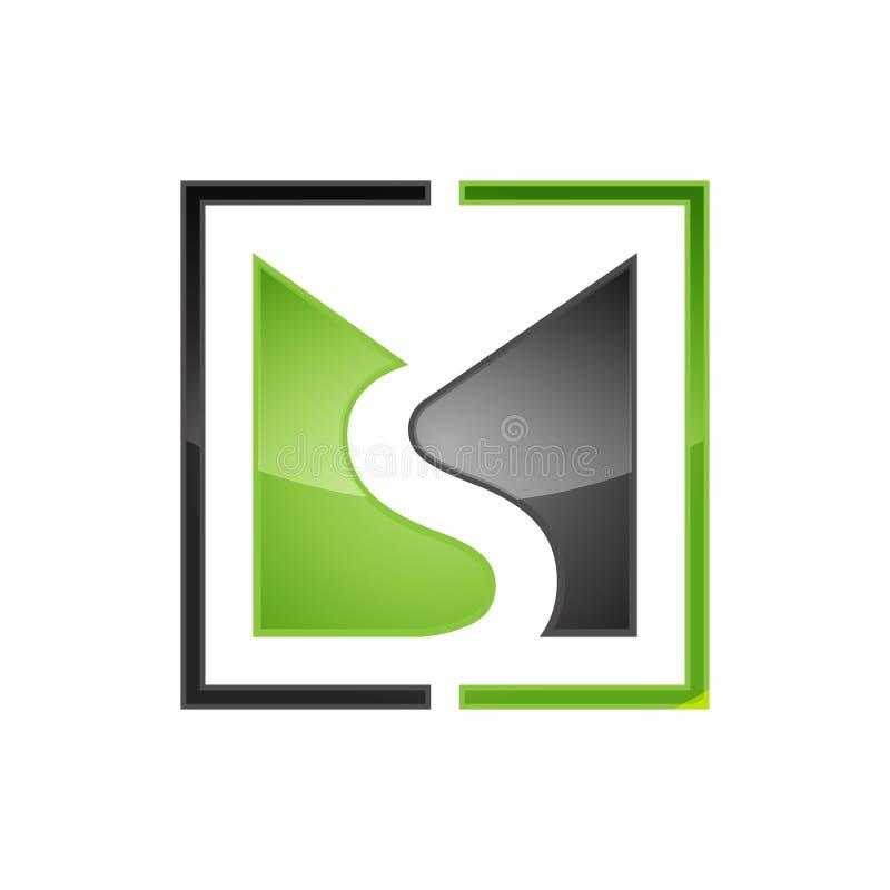 Creatief vector het embleemontwerp van de Mej.brief met negatieve stijl stock illustratie