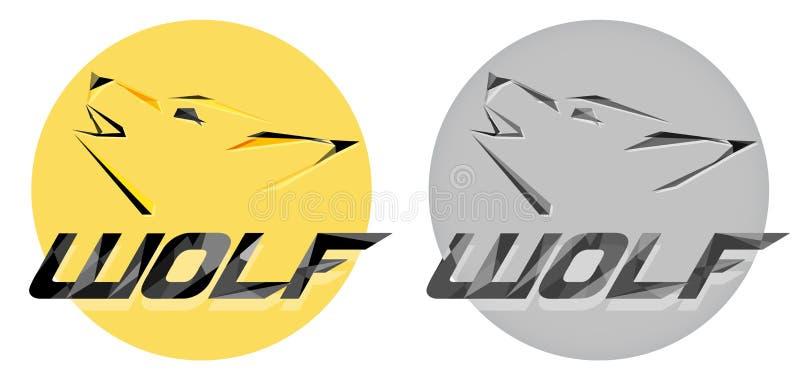 Creatief vectorwolfshoofd logotype in veelhoek of PolyArt-stijl Modern professioneel wolfsembleem voor een commercieel of sportte royalty-vrije illustratie