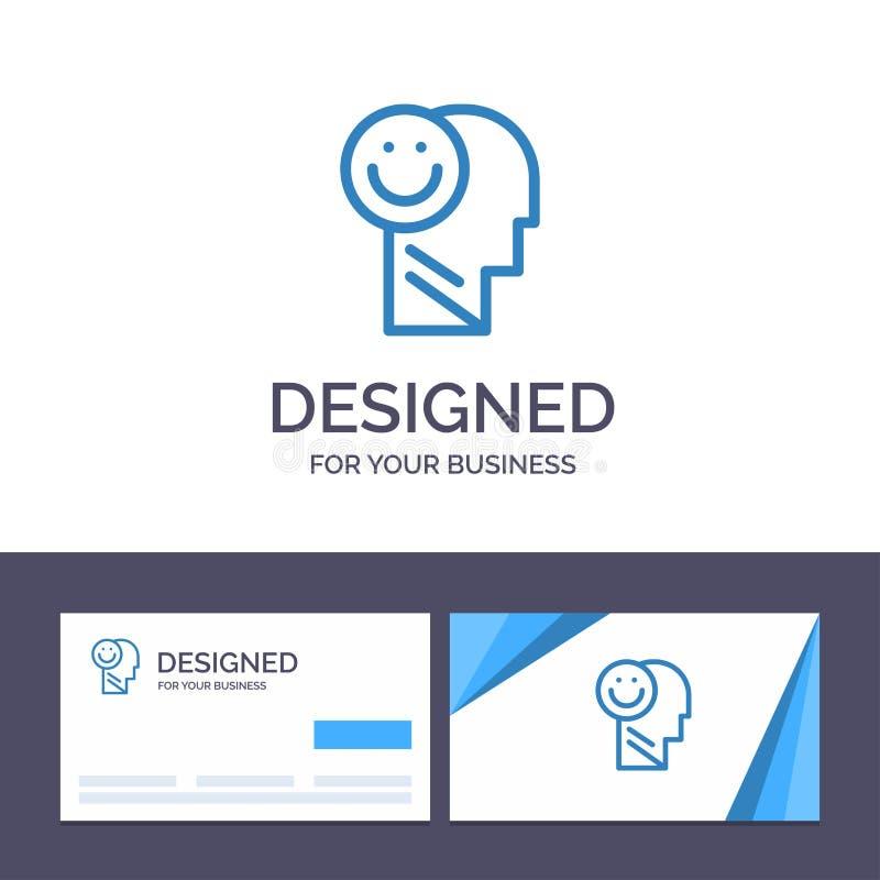 Creatief Visitekaartje en Embleem Menselijk malplaatjegeluk, Gelukkig, het Leven, Optimisme Vectorillustratie vector illustratie