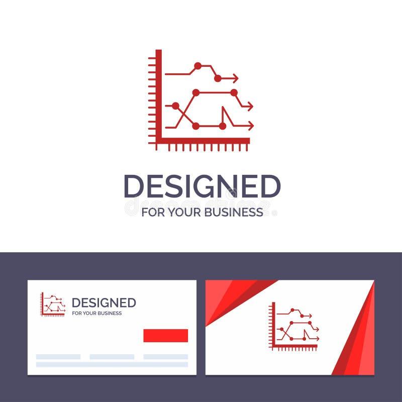 Creatief Visitekaartje en Embleemmalplaatje Analytics, Zaken, Grafiek, Diagram, Grafiek, Tendensen Vectorillustratie royalty-vrije illustratie