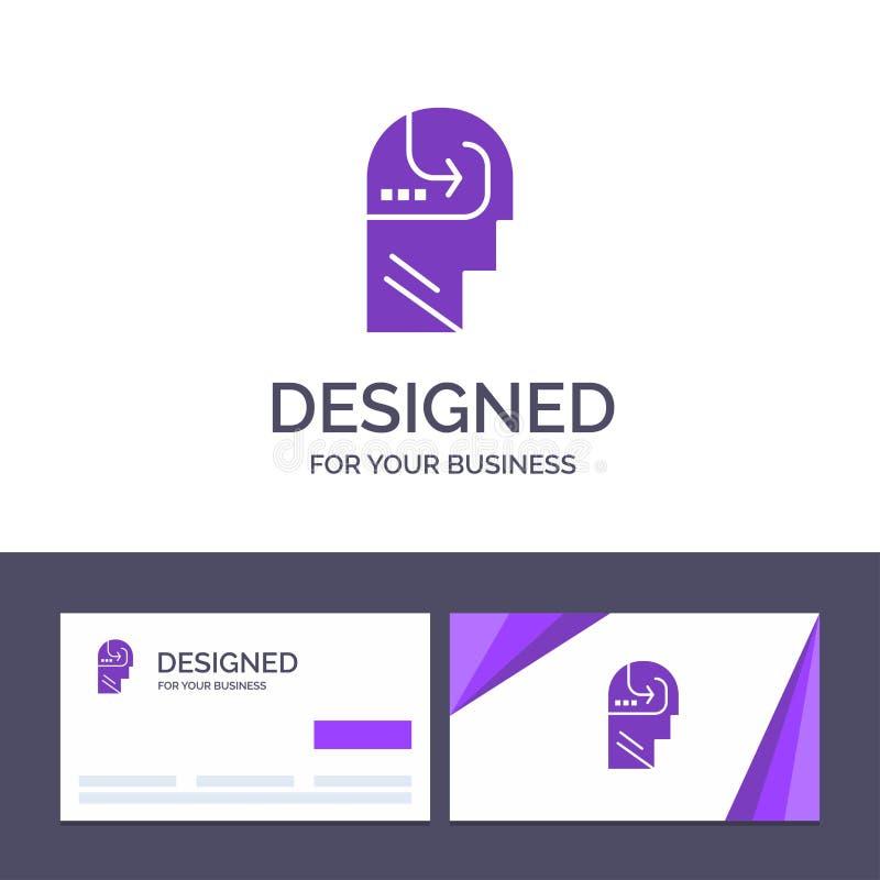 Creatief Visitekaartje en Embleemmalplaatje dat, Vaardigheid, Mening, Hoofd Vectorillustratie leert vector illustratie