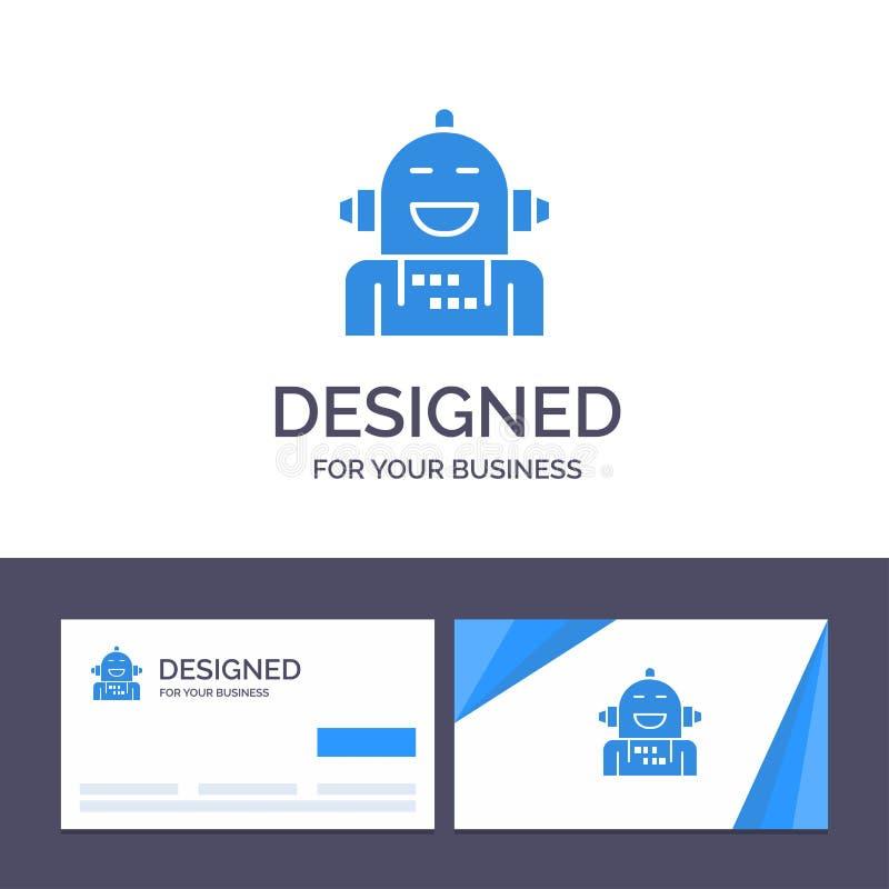 Creatief Visitekaartje en Embleemmalplaatje Kunstmatig Android, Emotie die, Emotioneel, Vectorillustratie voelen royalty-vrije illustratie