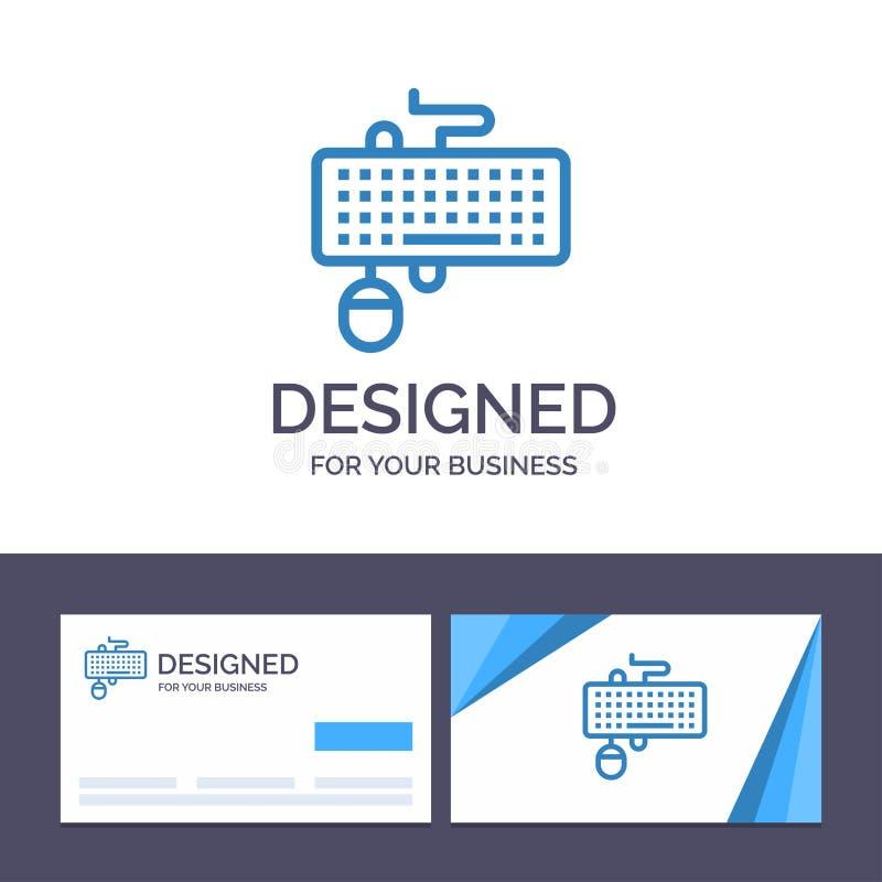Creatief Visitekaartje en Embleemmalplaatjeapparaat, Interface, Toetsenbord, Muis, Verouderde Vectorillustratie royalty-vrije illustratie
