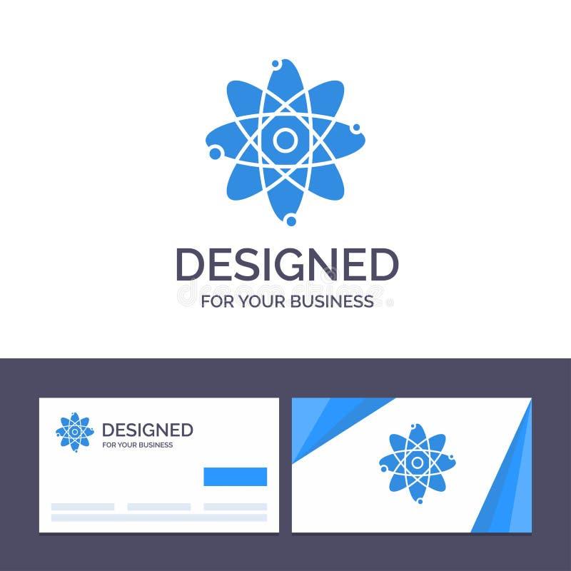 Creatief Visitekaartje en Embleemmalplaatjeatoom, Onderwijs, Kern Vectorillustratie vector illustratie