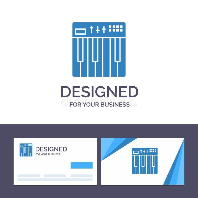 Creatief Visitekaartje en Embleemmalplaatjecontrolemechanisme, Hardware, Toetsenbord, Midi, Muziek Vectorillustratie stock illustratie