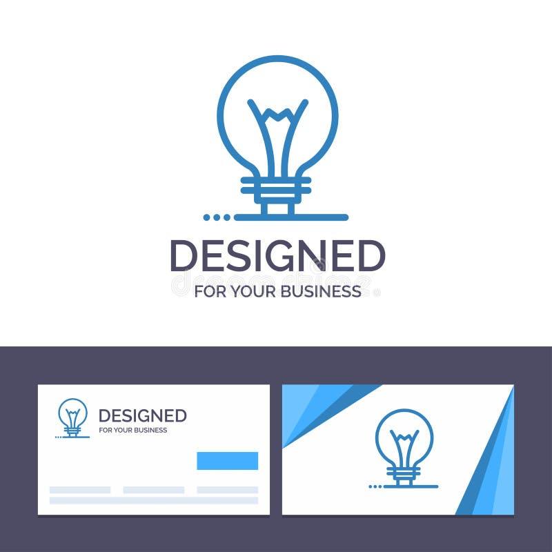 Creatief Visitekaartje en Embleemmalplaatjeidee, Innovatie, Uitvinding, gloeilampen Vectorillustratie vector illustratie