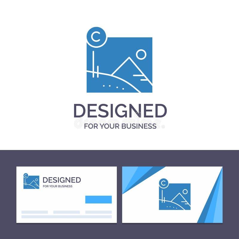 Creatief Visitekaartje en Embleemmalplaatjekunstwerk, Zaken, Copyright, de Vectorillustratie van Copyrighted stock illustratie