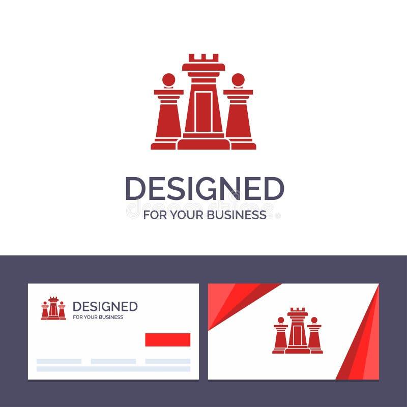 Creatief Visitekaartje en Embleemmalplaatjeschaak, Computer, Strategie, Tactiek, Technologie Vectorillustratie royalty-vrije illustratie