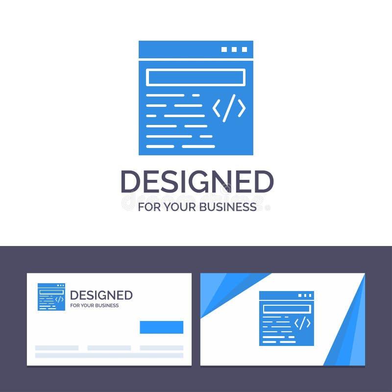Creatief Visitekaartje en Embleemmalplaatjeweb, Ontwerp, Tekst Vectorillustratie royalty-vrije illustratie