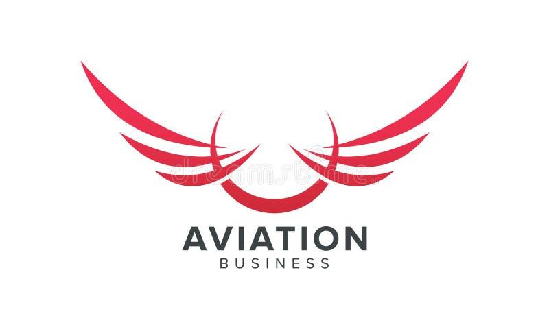 Creatief Vleugelsymbool Luchtvaart en Luchtvaartlijnen Verwante Zaken stock illustratie