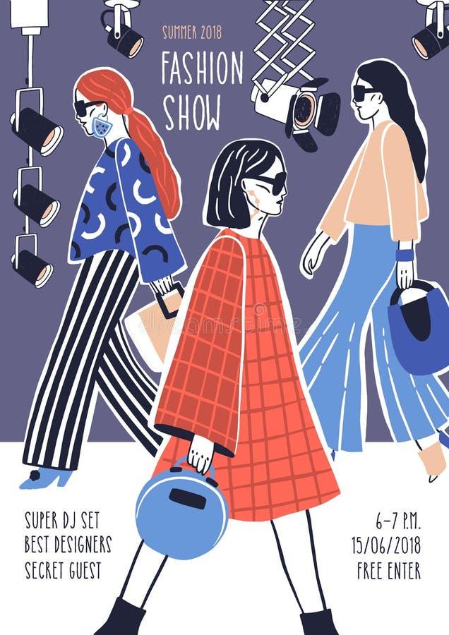 Creatief vlieger of affichemalplaatje voor modeshow met modellen die modieuze haute-coutureskleren dragen die lopen royalty-vrije illustratie