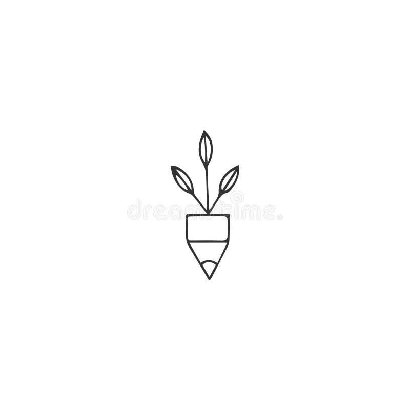 Creatief Wedstrijdthema Een potlooduiteinde met groene spruiten, vectorhand getrokken pictogram vector illustratie