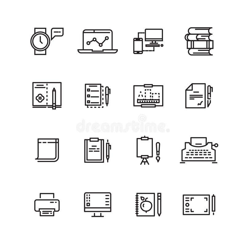 Creatief, wetenschap, het schrijven geplaatste de pictogrammen van de hulpmiddelenlijn royalty-vrije illustratie