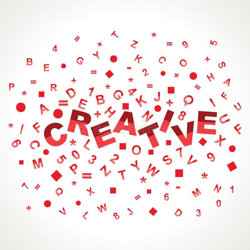 Creatief woord met in alfabetten stock illustratie