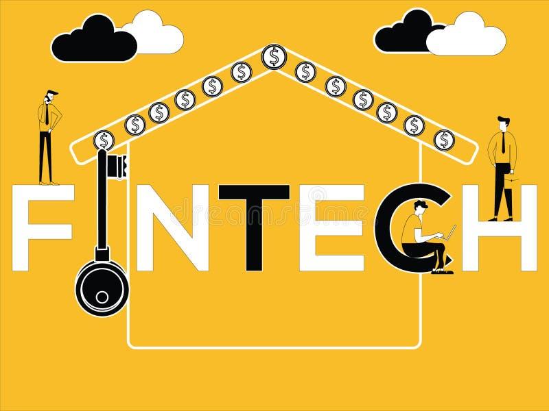 Creatief Word concept Fintech en Bedrijfsmensen die daarmee verband houdende activiteiten doen vector illustratie