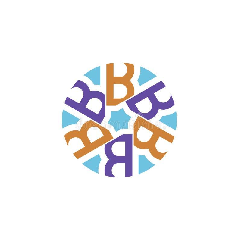 Creatieve aanvankelijke brief B met cirkelembleem stock illustratie