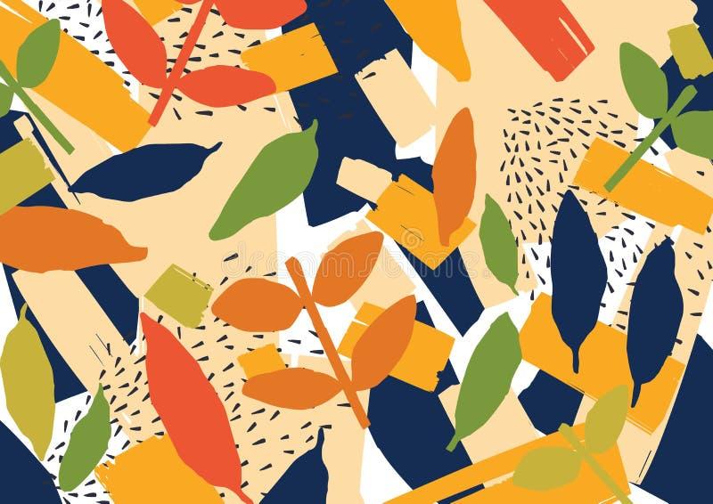 Creatieve abstracte achtergrond met verspreide gestileerde bladeren Moderne heldere gekleurde horizontale achtergrond met natuurl stock illustratie