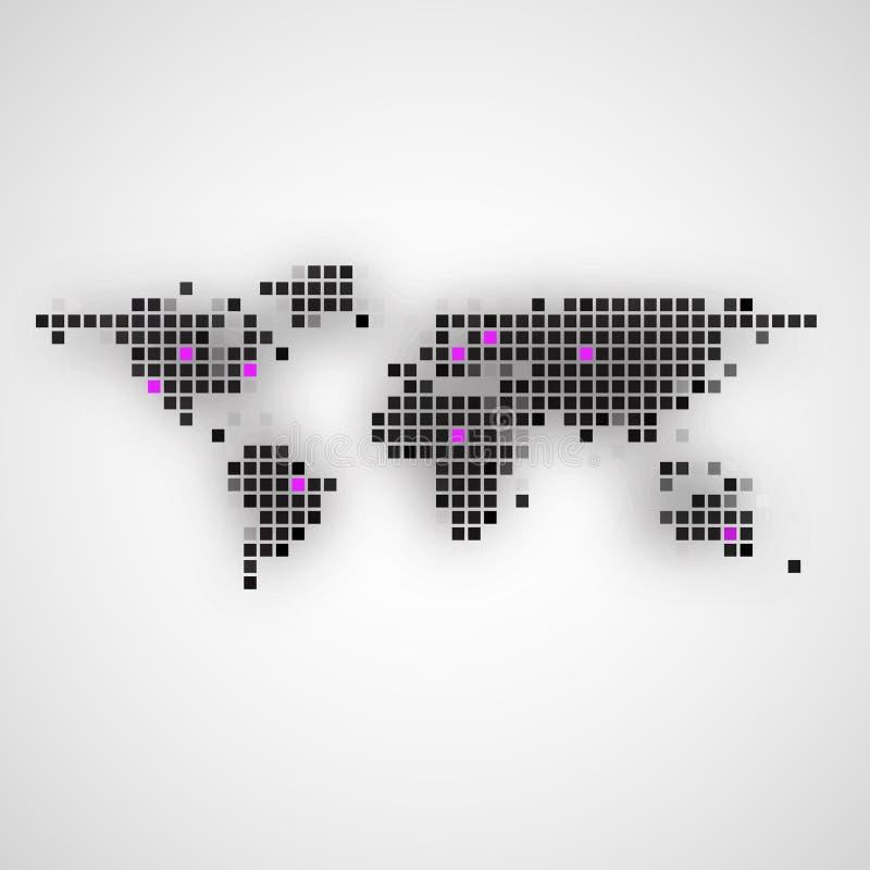 Creatieve abstracte vierkante vorm gevormde wereldkaart royalty-vrije illustratie