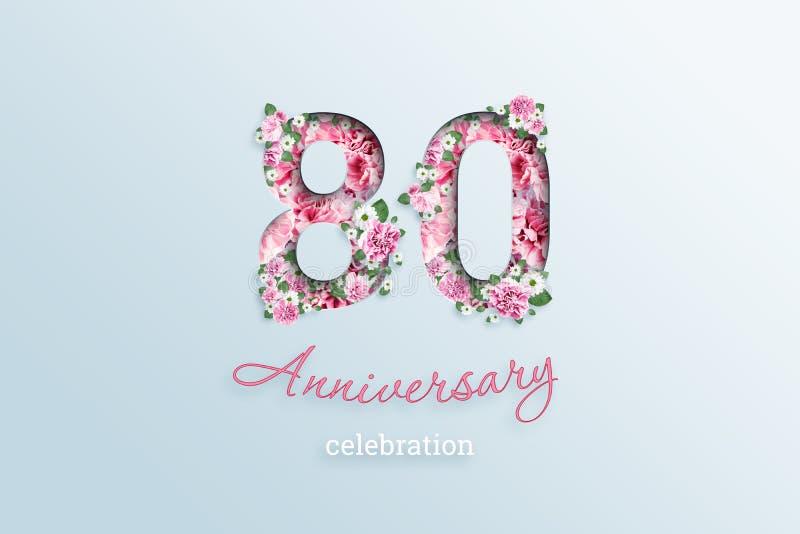 Creatieve achtergrond, de inschrijving 80 aantal en textisbloemen van de verjaardagsviering, op een lichte achtergrond verjaardag stock illustratie