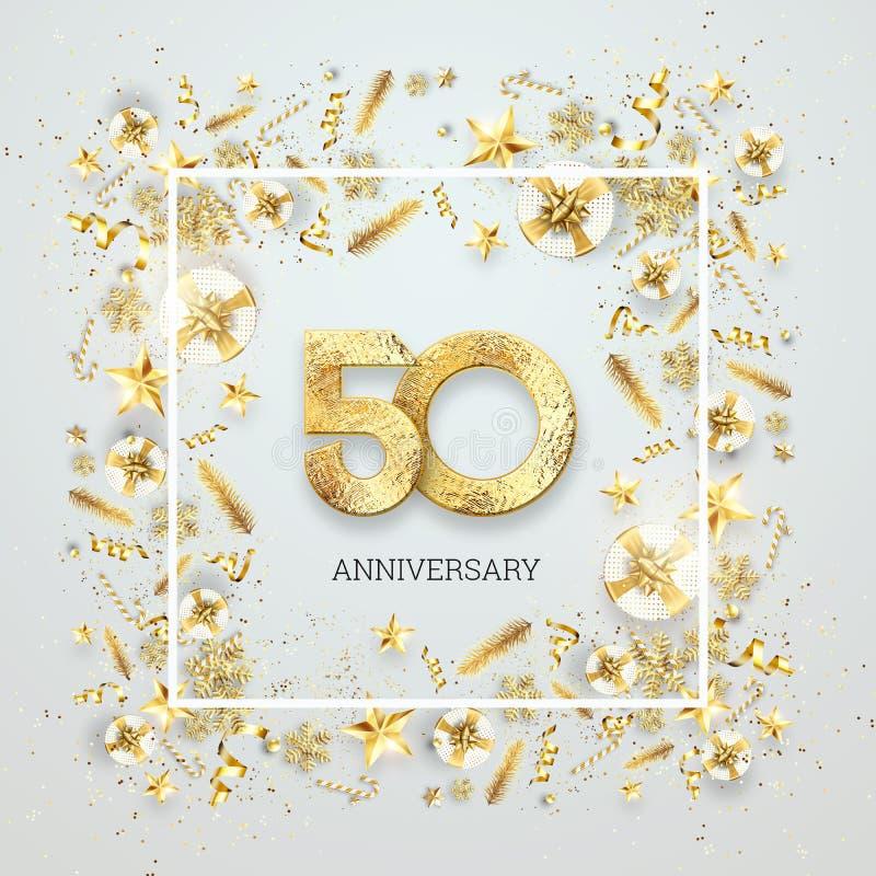 Creatieve achtergrond, 50ste verjaardag Viering van gouden teksten en confettien op een lichte achtergrond met aantallen, kader vector illustratie