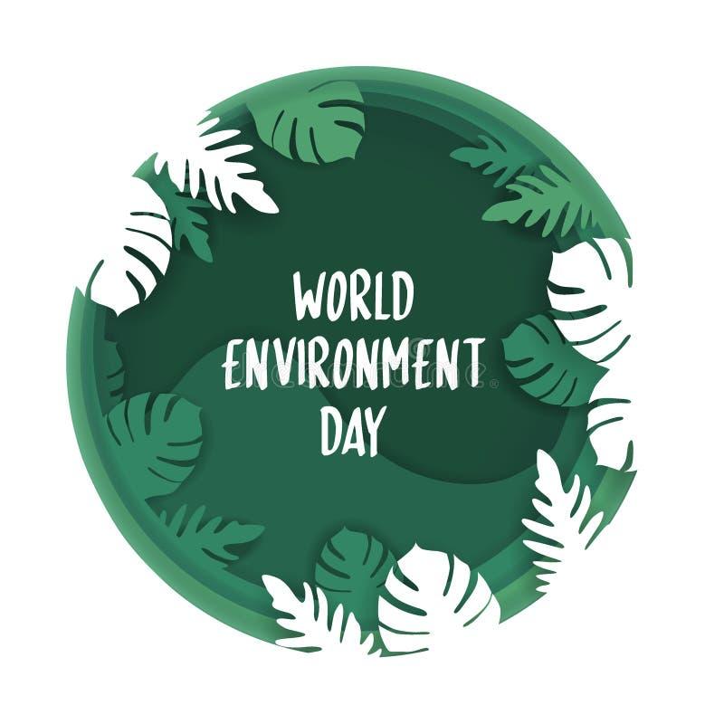 Creatieve affiche of banner van de Dag van het Wereldmilieu 3d document vriendschappelijke ontwerp van besnoeiingseco Vector illu vector illustratie