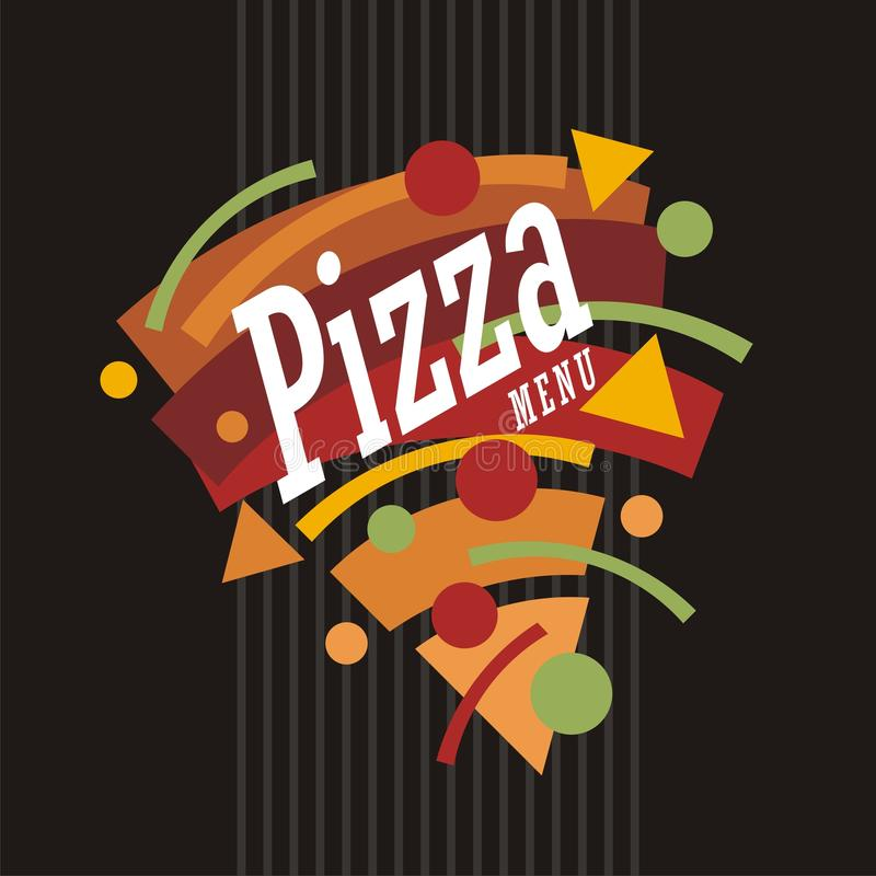 Creatieve artistieke funky grafische stijlpizza stock illustratie