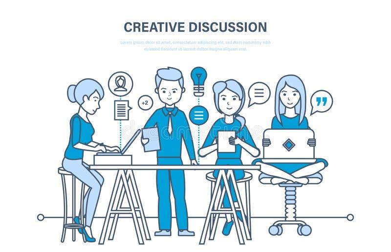 Creatieve bespreking Het commerciële team, groepswerksamenwerking, mededeling, ruilt belangrijke informatie stock illustratie