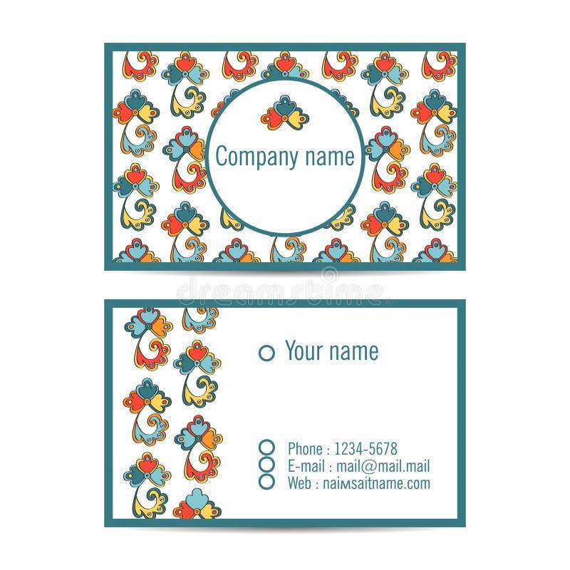 Creatieve bezoekkaart met patroon en ruimte voor informatie stock illustratie