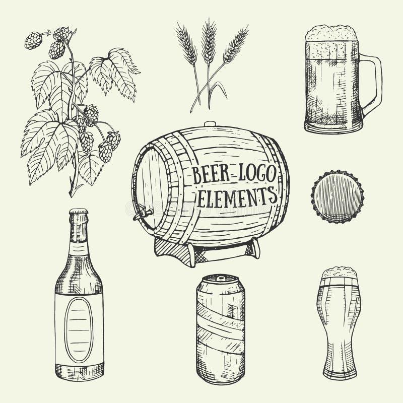 Creatieve bierreeks Vector illustratie Schets, grafisch ontwerp stock illustratie