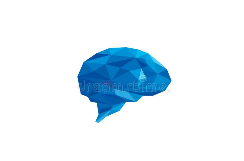 Creatieve Blauwe Pixelated Brain Logo Vector Illustration stock illustratie