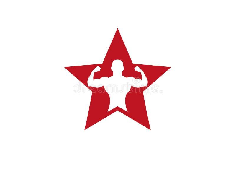 Creatieve Bodybuilding-Ster Logo Vector Design stock illustratie