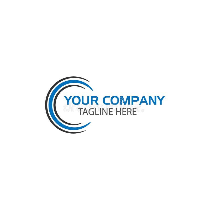 Creatieve Brief C Logo Design, technologieembleem royalty-vrije illustratie