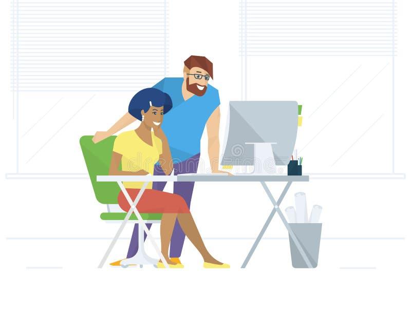 Creatieve bureaumensen die met computer werken royalty-vrije illustratie
