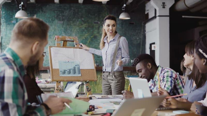 Creatieve commerciële teamvergadering op modern kantoor Het managerwijfje die financiële gegevens voorleggen, motiveert team om t royalty-vrije stock fotografie