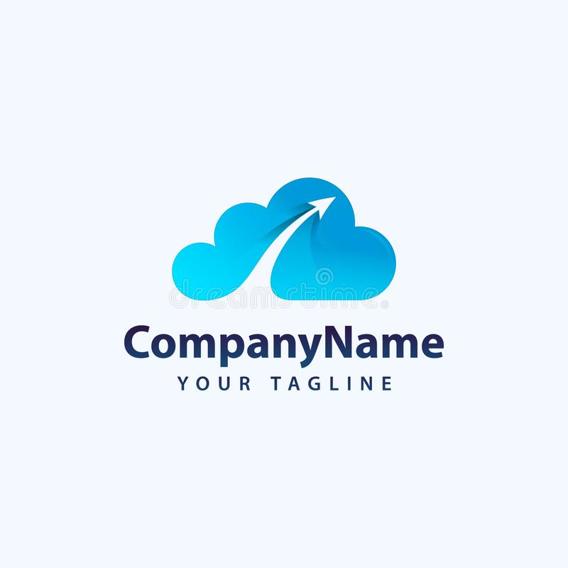 Creatieve 3D Wolk Logo Design Creatief Vectorpictogram van een blauwe wolk met pijlen vector illustratie
