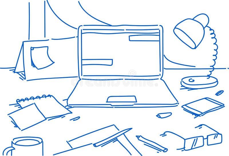 Creatieve de werkplaatslaptop van het bureauhuis het document van de kalenderglazen van lampsmartphone stationaire het bureauzake royalty-vrije illustratie