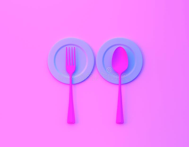 Creatieve die ideelay-out van lepels en vorken met schotel op de bvibrant gewaagde achtergrond van gradiënt purpere en blauwe hol vector illustratie