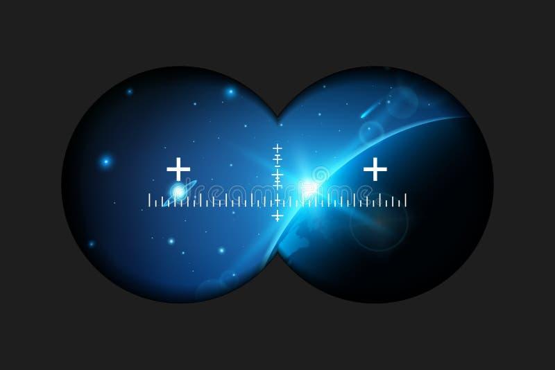 Creatieve die illustratie van verrekijkersmening met tekens op transparante achtergrond worden geïsoleerd Het ontwerp van de kuns vector illustratie