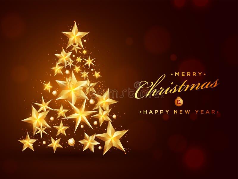 Creatieve die Kerstmisboom door glanzende gouden sterren op bruine backgroun wordt gemaakt royalty-vrije illustratie