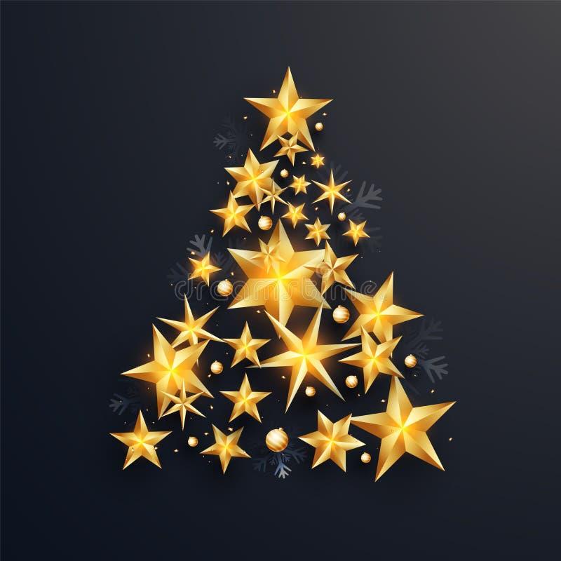 Creatieve die Kerstmisboom door glanzende gouden sterren op zwarte backgroun wordt gemaakt royalty-vrije illustratie