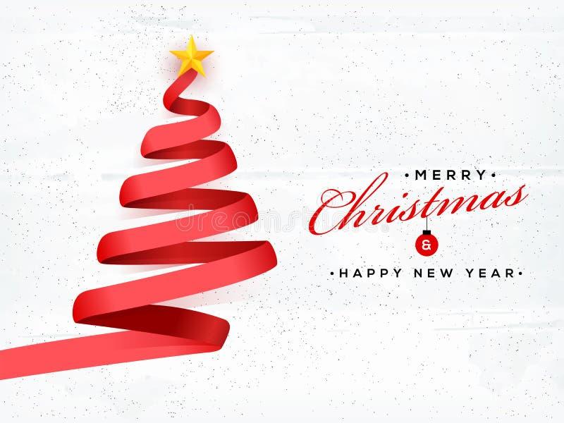 Creatieve die Kerstmisboom door rood lint op witte geweven backgrou wordt gemaakt royalty-vrije illustratie