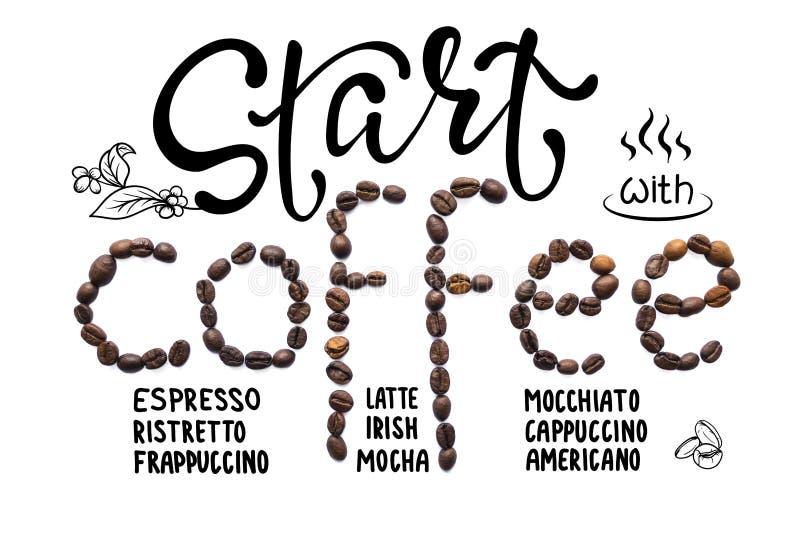 Creatieve die lay-out van koffiebonen wordt gemaakt met het van letters voorzien en krabbel royalty-vrije illustratie
