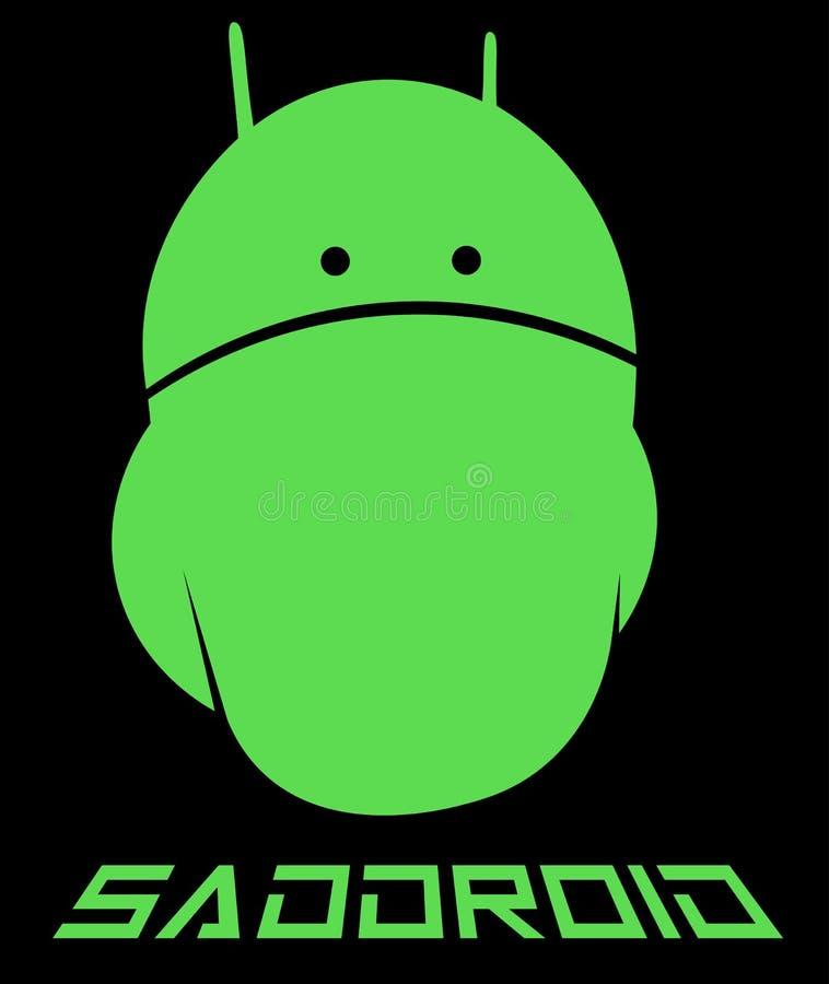 Creatieve embleem van Emo het androïde, droevige androïde minimalism stock foto