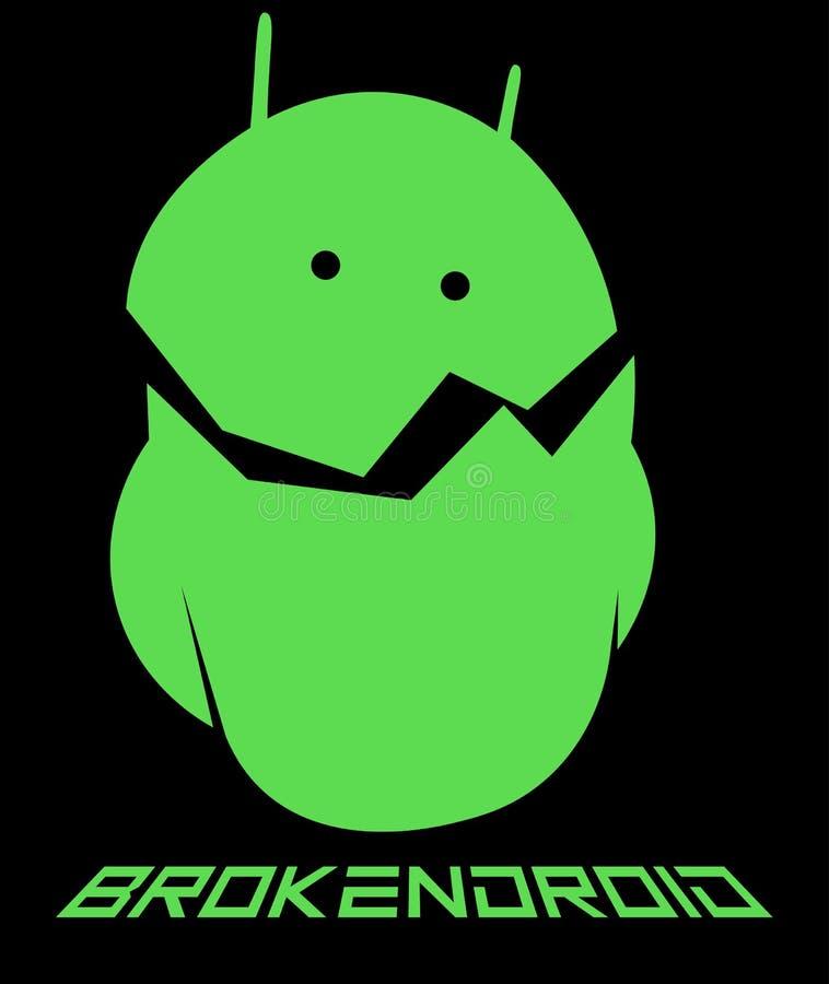 Creatieve embleem van Emoticon het androïde, gebroken androïde minimalism stock illustratie