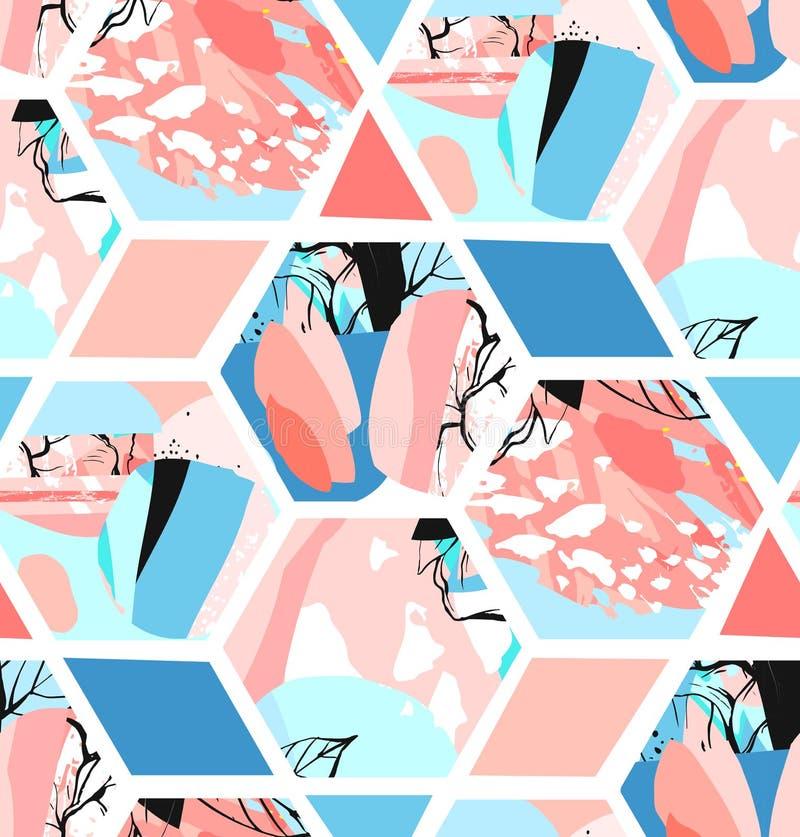 Creatieve geometrische achtergrond met bloemenelementen en verschillende texturen collage Ontwerp voor affiche, kaart, uitnodigin vector illustratie