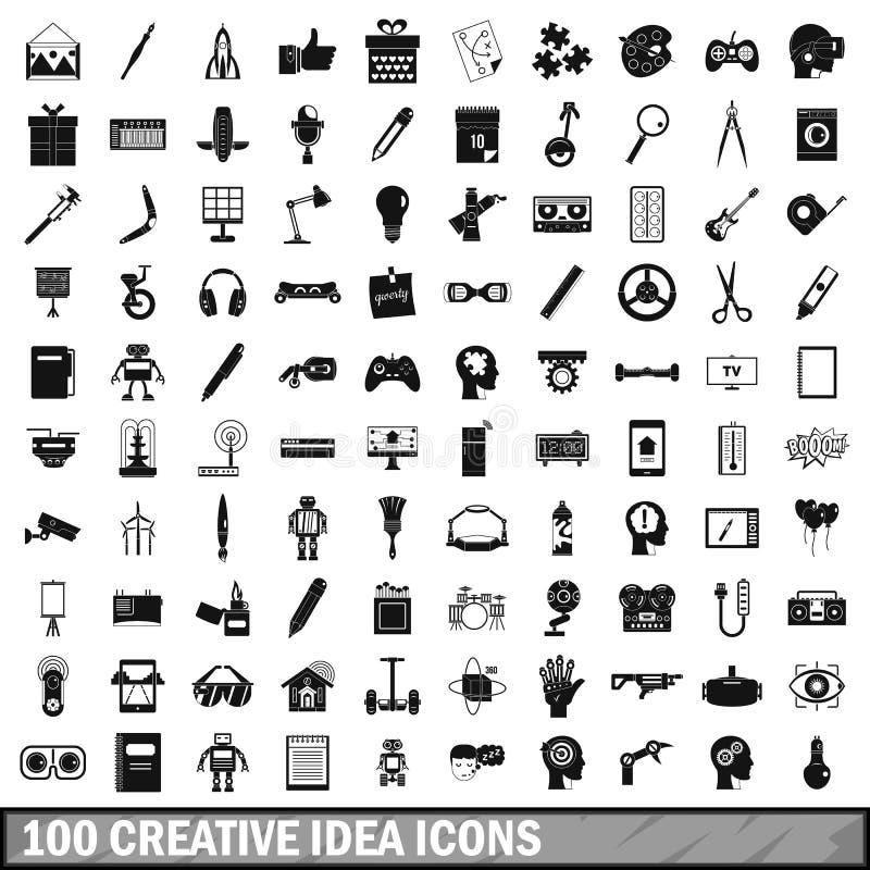 100 creatieve geplaatste ideepictogrammen, eenvoudige stijl vector illustratie