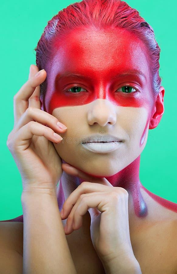 Creatieve gezicht-kunst, jonge vrouw stock afbeelding