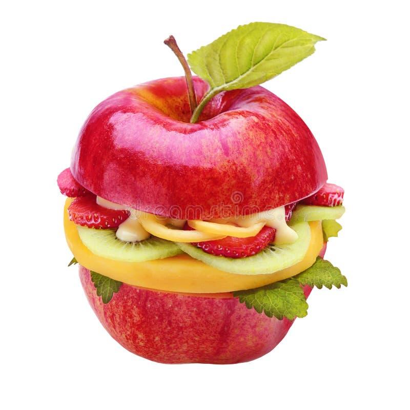 Creatieve gezonde sappige appelhamburger stock afbeelding