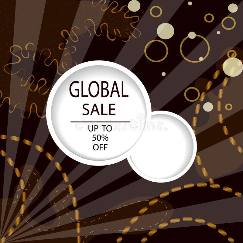 Creatieve Globale Verkoopkopballen of banners met kortingsaanbieding Kunst donkere en gouden affiches Ontwerp voor seizoengebonde vector illustratie